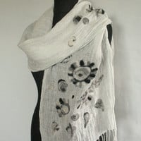 Linen Scarf Natural Gray White Washed Poppy Felted Wool