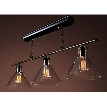 Modern Chandeliers - Lola 3-light Black Island Edison Chandelier with Bulbs