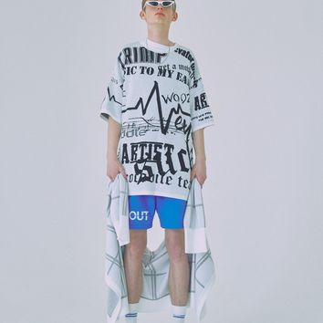 [WOOZO] 18 SS 12 wave graphic overfit shortsleeved tshirts (white)