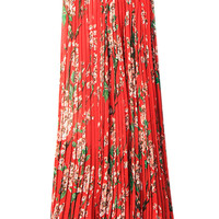 Red Floral Print Pleated Maxi Skirt