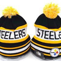 Pittsburgh Steelers Women Men Embroidery Beanies Winter Knit Hat Cap