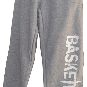 BASKETBALL Sweatpants in Gray with White Print