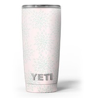 The Pink and Mint Floral Sprout - Skin Decal Vinyl Wrap Kit compatible with the Yeti Rambler Cooler Tumbler Cups