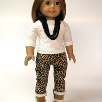 """Leopard print skinny pants with a lace front top and furry boots for American Girl and other 18"""" Dolls"""