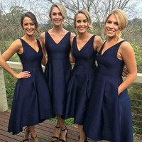 Elegant A-line Bridesmaid Dresses Navy Blue Tea-Length Vneck Bridesmaid Dress With Pleat BD20 Lovely Taffeta Wedding Party Dress