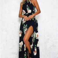 Halter Floral Backless Maxi Dress - Navy