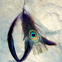 Black Moon peacock & coque feather antiqued brass by pareket
