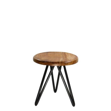 Wood and Iron Stool - Small