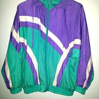 Vintage WINDBREAKER Jacket Zip Up by Karizma Athletic Wear Sportswear Saved by the Bell Color Purple Teal White Size Small
