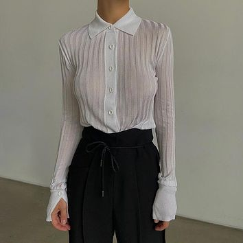 Sexy Mesh Shirts Long Sleeve Transparent Turn Down Collar Solid Casual Streetwear Office Lady Blouse Female Top