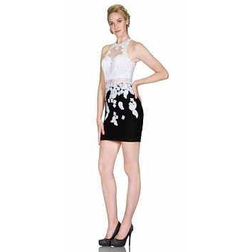 Halter Fitted Mini Cocktail Dress with Sheer Midriff White Black