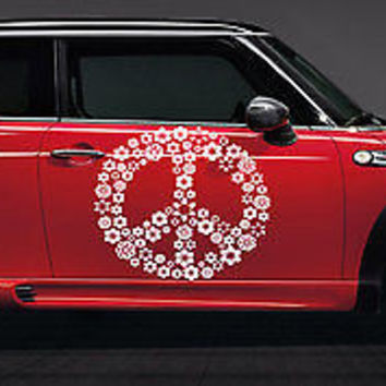 Peace Sign Made of Flowers Hippie Woodstock Car vinyl graphics Sticker tr089