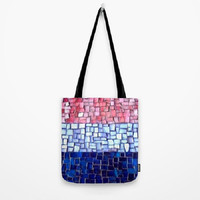 Pink Lilac Blue, Mosaic, Hydrangea - Tote Bag - 3 Sizes Available - Baby Shower, Grocery, Beach, Busy Mom, Student - Made To Order - BTB2#24