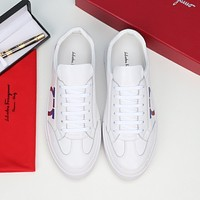 Salvatore Ferragamo  Men Fashion Boots fashionable Casual leather Breathable Sneakers Running Shoes