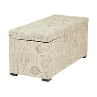 Office Star Monarch Collection Tufted Storage Bench in Script Fabric