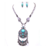 Beautiful Turquoise Disc Fringe Drop Necklace