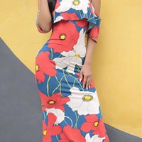 Strapless Floral Print Maxi Dress  10534
