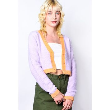 Fuzzy Sorbet Knit Cardigan - Orchid