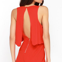 Ahead of the Curves Scalloped Red Romper