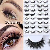 1 Pair 3D Faux Mink Hair Handmade 16 Styles False Eyelashes Wispy Longlasting Natural Thick Lashes Extension Tools