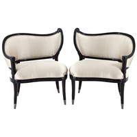 Pair of Antique Black Lacquer Hollywood Regency Accent Chairs at 1stdibs