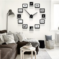 Unique Home Office DIY Creative Photo Frame Wall Clock Set