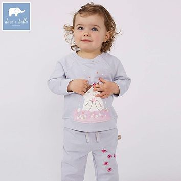DBJ7653 dave bella spring baby girls clothing sets kids light blue cat suit children toddler outfits high quality clothes