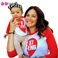 chifuna 2017 Spring Autumn Family Look T-shirts Cotton Long Sleeved Best Friend Print Mom Baby Clothes Family Matching Outfits
