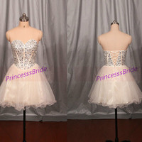 Short champagne tulle prom dresses with rhinestones,sweetheart homecoming gowns in 2014,cheap women dress for party hot.