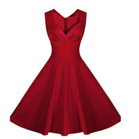 Women's Cut Out Polka Dot Swing Elegent Vintage Sleeveless V-Neck Vintage Casual Cocktail Party 1950'S Retro Bridesmaid Dress S-XXL [8384306567]