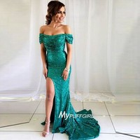Green Off The Shoulder Sequin Fitted Formal Gown, Prom Dress With Side Slit