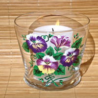 Hand Painted Candle Holder With Purple Pansies