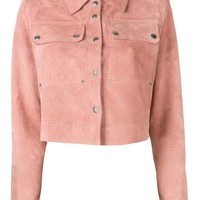 Pink Calf Suede Cropped Jacket by Acne Studios