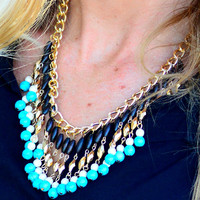 ON THE BALL NECKLACE IN TEAL/BLACK MULTI