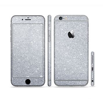 The Silver Sparkly Glitter Ultra Metallic Sectioned Skin Series for the Apple iPhone 6 Plus