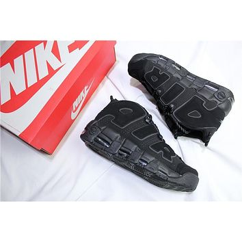 Air More Uptempo All Black Basketball Sneaker