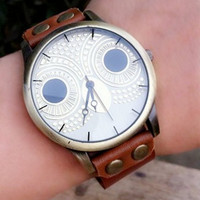 Vintage Handmade Owl Dial Leather Rope Bracelet Watch with Rivet