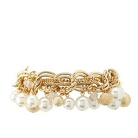 Gold Mixed Chain & Pearl Charm Bracelet by Charlotte Russe