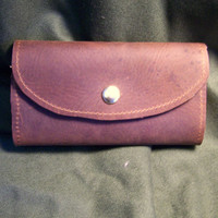 Traditional Oil Tanned Leather Fly Wallet with Pocket and Interchangeable Foam Inserts, Mocha Brown