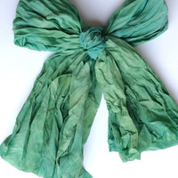 Hand dyed silk scarf - Summer party - head scarf - Emerald green nuance