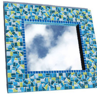 Lime Green and Teal Mosaic Mirror