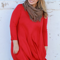 Simple & Sweet Dress with Pockets ~ Red ~ Sizes 12-18