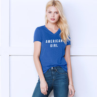 AMERICAN GIRL 4TH OF JULY V-NECK TEE