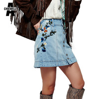 Achiewell Casual Bohemian Women Skirt Hign Waist Side Floral Embroidery Metal Button Placket Skyblue A-line Denim Skirt Bottoms