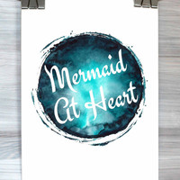 Mermaid At Heart Print Watercolor Typography Quote Wall Art Girly Dorm Bedroom Apartment Poster Home Decor