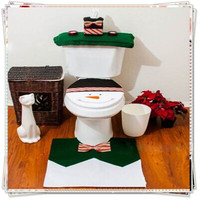 4pcs Snowman Toilet Seat Cover Rug Bathroom Set Christmas  Year Decoration Closetool Mat Pad Tank Cusion Tissue Box Holder