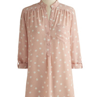 ModCloth Pastel Long 3 Hosting for the Weekend Tunic in Blush