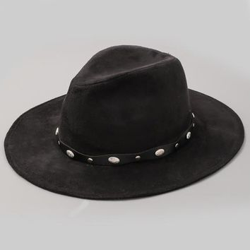 Embellished Black Faux Suede Midnight Rider Hat