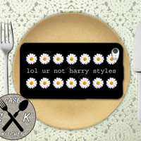 Lol Ur Not Harry Styles Quote Daisy Pattern Tumblr 1D Custom Rubber Tough Phone Case For The iPhone 4 and 4s and iPhone 5 and 5s and 5c