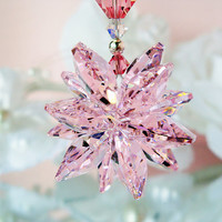 Pink Crystal Suncatcher Car Mirror Charm Swarovski Lt. Pink Crystal Rear View Mirror Car Accessories